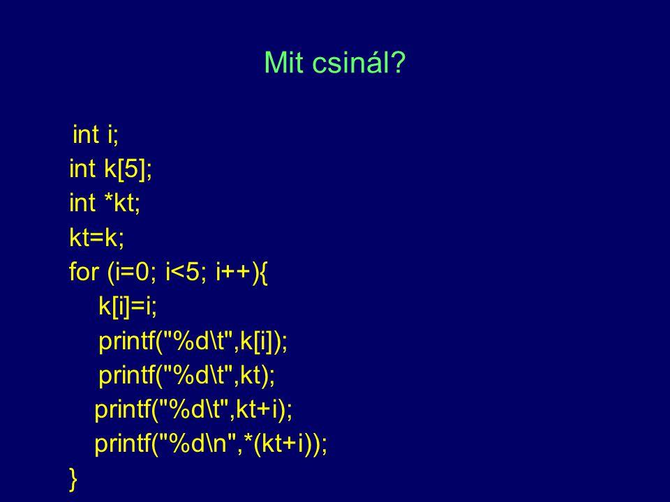 Mit csinál int i; int k[5]; int *kt; kt=k; for (i=0; i<5; i++){
